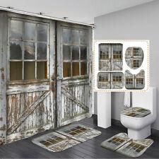 Vintage Door Waterproof Shower Curtain+Non-Slip Bathroom Toilet Cover Mat Rug Us