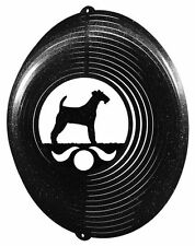 Swen Products Irish Wire Fox Terrier Dog Circle Swirly Metal Wind Spinner