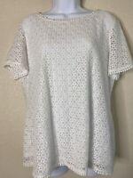 Liz Claiborne Womens Size L White Lace Blouse Short Sleeve