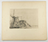 """""""The Windmill"""" By Rembrandt Restrike Etching Signed in Plate 6""""x8"""""""
