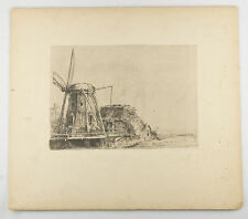 """The Windmill"" By Rembrandt Restrike Etching Signed in Plate 6""x8"""