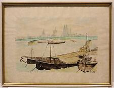 Künstlerische Aquarell-Malereien von 1900-1949 auf Papier im Jugendstil