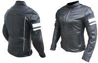 Nuova giacca giubbotto moto pelle bovina donna protezioni CE