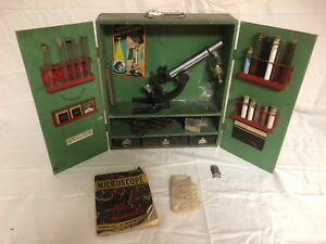 1938 Gilbert Microscope Set With Wood Box