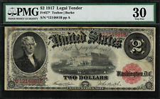 """1917 $2 Legal Tender FR-57* - STAR NOTE - Graded PMG 30 """"Comment"""" Very Fine"""