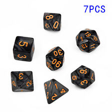 7 Pcs 4/6/8/10/12/20/% Black Polyhedral Dice Suit For DND RPG MTG Board Game New