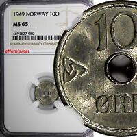 Norway Haakon VII Copper-Nickel 1949 10 Ore NGC MS65 KM# 383