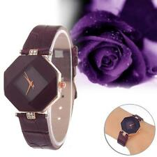 Womens Watch Diamond Faux Leather Rhinestone Quartz Analog Wrist Watch Purple #1