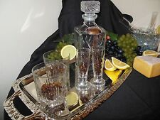 7 Pc BOURBON Italian Crystal Mini Bar Set-Up Decanter, Label, 2 DOF, 2 SG w Tray