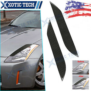 For Nissan 350Z/Z33/FAIRLADY Carbon Fiber Headlight Eye Lid Eyelids Cover