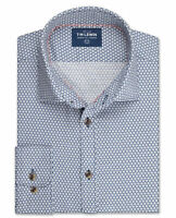T.M.Lewin Mens Floral Slim Fit Navy Single Cuff Shirt