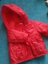 9-12 months girl red quilted winter jacket with hoodie from miniclub