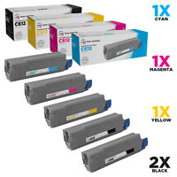 LD Compatible Replacements for Oki C612 Toners 2 Black 1 Cyan 1 Magenta 1 Yellow