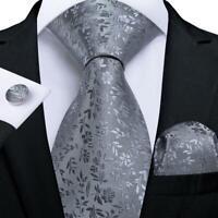 Silver Gray Silk Tie Set Jacquard Floral Mens Necktie Hanky Cufflinks Business