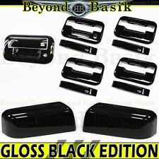 04-08 F150 Crew GLOSS BLACK Door Handle no KH w/KP+Top Mirror+Tailgate Covers