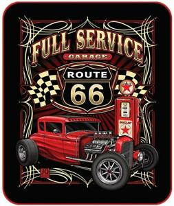 Signature Route 66 Full Service Garage Hot Rod Soft Plush Queen Size Blanket