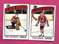 1976-77 OPC  HAWKS TONY ESPOSITO + STAN MIKITA NRMT CARD (INV# D2886)