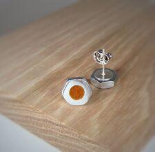Silver Hex Nut Stud Earrings w/ Aztec Gold Bronze Pearl Acrylic Inlay ~ Handmade