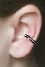 Handmade Stackable Faux Earrings, Fake Piercings, 18 gauge Hoop, BLACK Ear Cuff