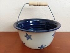 Rare Vintage Marshall Pottery Egg Gathering Basket Patriotic Stars Artist Signed