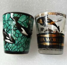 VTG Set Sea World Killer Whale Dolphin Shot Glasses Orca Alaska Sea Life Shooter