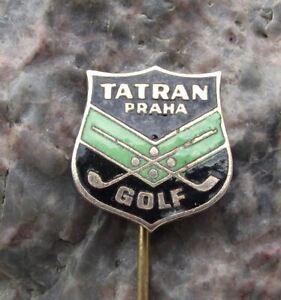 Antique Tatran Praha Prague Czech Crossed Golf Clubs Ball Logo Members Pin Badge