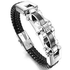 Damen Herren Leder Edelstahl Armband Geflochten Faser Zircon Schließe Silber Ton