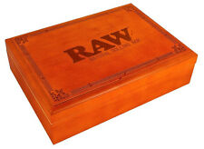 Large RAW Rolling Box Magnetic Stash Storage 3 Compartment Etched Wood Natural