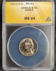 1955-D/S Jefferson Nickel  - ANACS Certified MS64 - ** WOMM-009