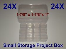 "24 SMALL STORAGE PROJECT BOX DIY CLEAR CONTAINER HOLDER SNAP LOCK 1"" x 1-7/8"""