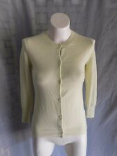 J.Crew Solid Light Yellow Green Cashmere 3/4 Sleeve Button Down Cardigan - XS