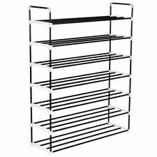 vidaXL Shoe Rack with 7 Shelves Metal and Plastic Black Stand Organiser Unit