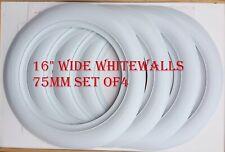 "ATLAS Tire type 16"" Wheel 3"" Wide Whitewalls Tyre Trim Set Of4 Hot Rod Rat Rod"