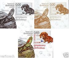 BULGARIA 2015 PET PETS DOG TURTLE 3  IMPERFORATE BLOCKS  MNH RRR