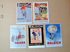 CYCLING POSTCARDS, RALEIGH ADVERTS ,RE-PRO,UN-POSTED,5 CARDS