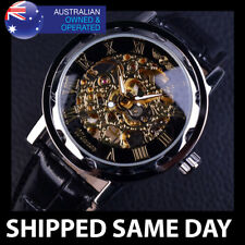 MENS CLASSIC MECHANICAL MOVMENT SKELETON WATCH Gold Water Resistant Silver Army