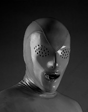 4641 Latex Rubber Gummi Mask Hood Flyeyes customized catsuit clubwear 0.4mm cool