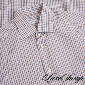 #1 MENSWEAR Kiton Napoli Sky Blue Brown Layered Plaid Spread Collar Shirt 16 NR