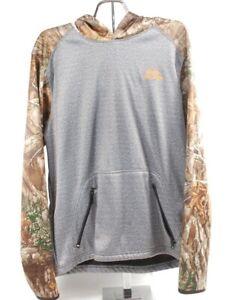 Realtree hoodie hunting men's sweatshirt pullover w/neck gaiter face shield sz M