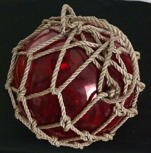 """Glass Fish Float Rope Net Buoy Blood Red. 8 1/2"""" New!"""