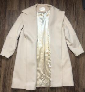 Fleurette Women's 100% Cashmere Wrap Belt Jacket Coat Size 10 Acetate Lined