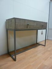 New Contemporary Reclaimed Wood & Metal 2 Drawer Console Table *Furniture Store*