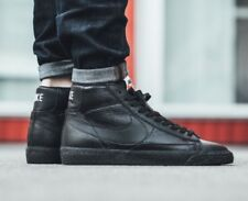 Nike Blazer Mid PRM Premium Triple Black Leather Gum Mens Trainers UK 12 US 13