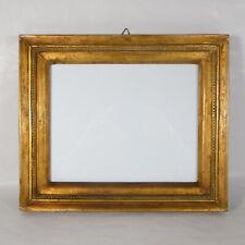 S106 ANTICA CORNICE IN LEGNO DORATO DORATA ORO + VETRO interno 24.5 x 20 cm