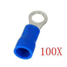 100PCS Ring Ground Insulated Wire Connector Electrical Crimp Terminal 14-16AWG