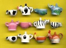 INCREDIBLE TINY PORCELAIN FIGURINE, ANIMAL TEAPOT SET, ZEBRA, CAT, COW...