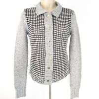 CAbi Women's Square Stitch Cardigan #3006 Size XS Gray Black Snap Front