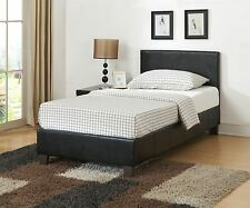 Berlin 3FT 90cm Single Bed Upholstered in Brown Faux Leather Classic Bedstead