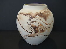 "Nemadji Pottery Art Pottery Vase, USA Pottery, Orange, Off White Brown, 8"" Tall"