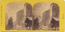 Suisse Braun Chute du Staubbach Photo Stereo Vintage albumine ca 1865
